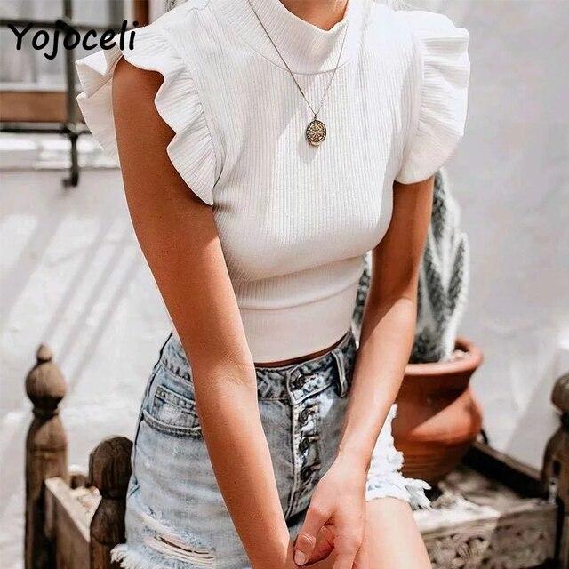 Yojoceli pretty ruffle knits women sleeveless sweater jumper pullovers female sweater