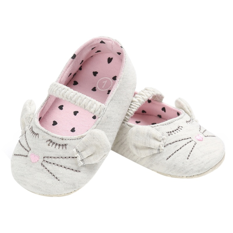 Newborn Baby Girls Princess Crib Babe First Walkers Cute Cat Prewalkers Soft Bottom Shoes
