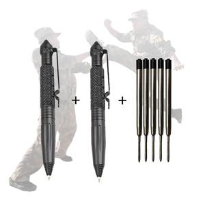 Image 1 - 2 adet savunma taktik kalem havacılık alüminyum Anti skid askeri taktik kalem cam kesici kalemler selfie savunma EDC açık araçları