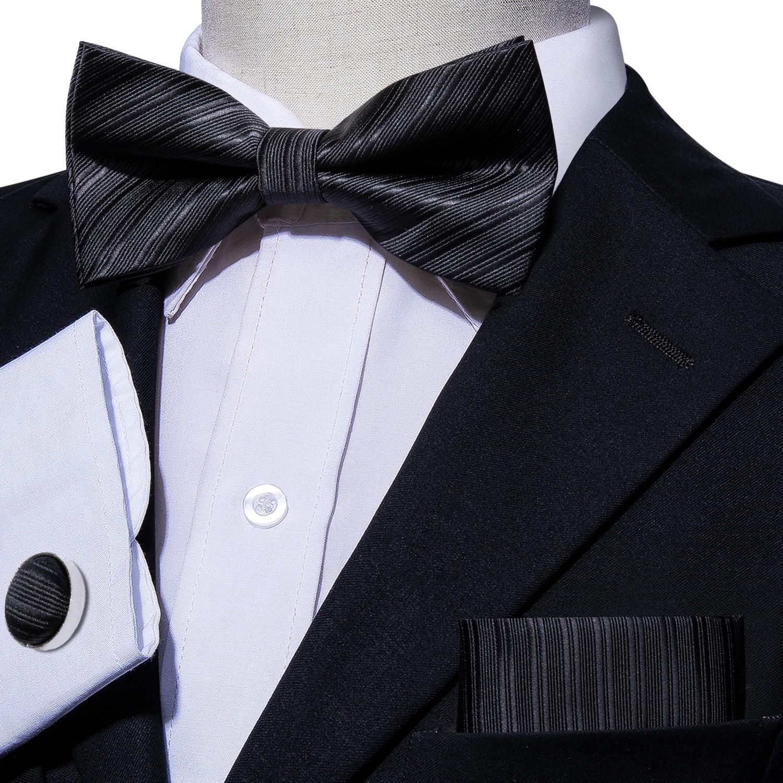 New formal men/'s pre tied Bow tie /& Pocket Square Hankie stripes white wedding