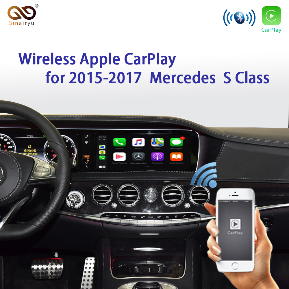 Sinairyu Wireless Apple Carplay Car play Retrofit S Class 15-19 NTG 5 W222 for <font><b>Mercedes</b></font> Android Auto Mirroring Rear Front CM image