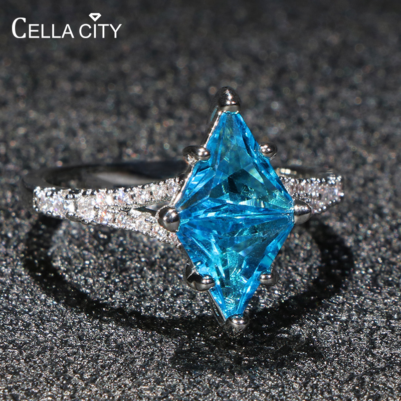 Cellacity Geometry Aquamarine Ring For Women Huge Gemstones Hyperbole Silver 925 Jewelry Female Gifts Wedding Party Size6-10