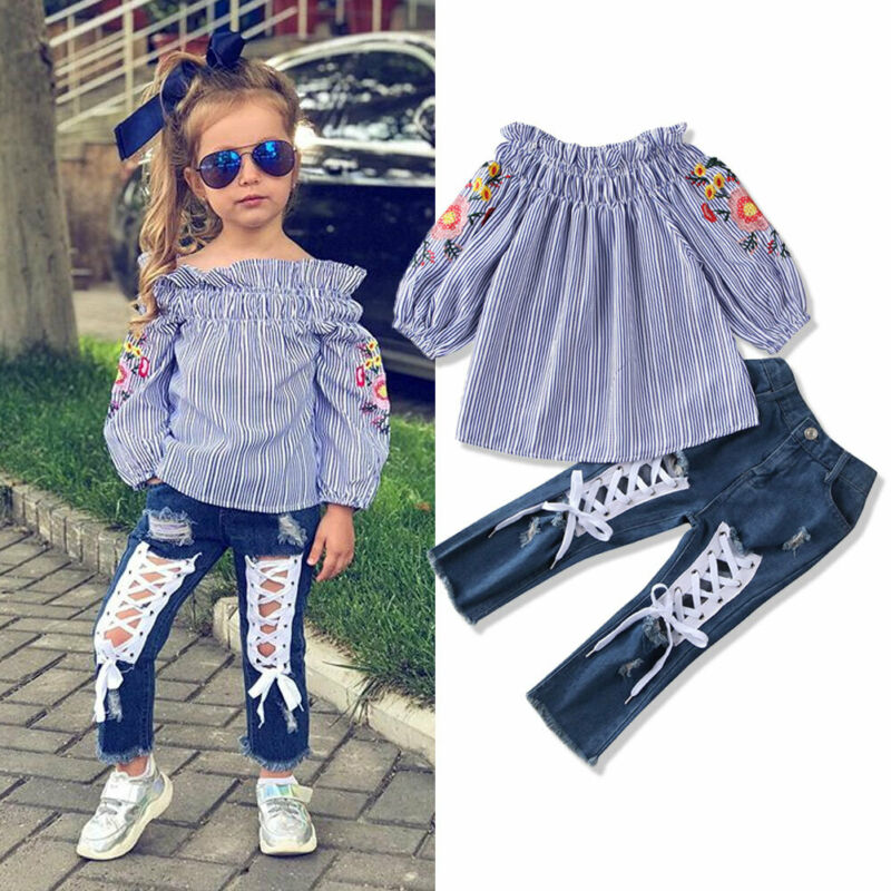 Children Kids Girls Clothes Streetwear 2Pcs Sets Off Shoulder Embroidered Sleeve Tops+ Holes Lace-up Denim Pants Outfits 3-8Y