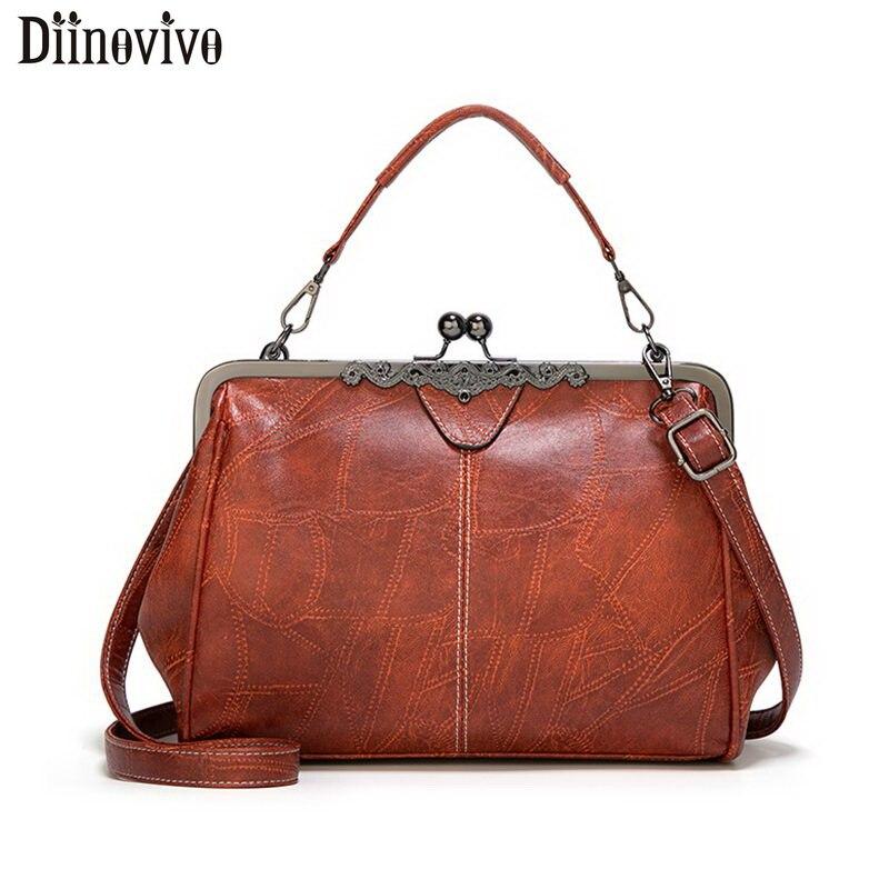 DIINOVIVO Vintage PU Leather Bags Women Handbags High Quality Crossbody Bags For Women Shoulder Bag Leisure Purses Tote WHDV1218