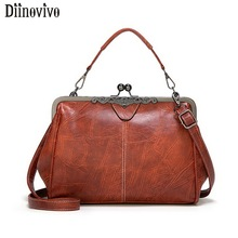 DIINOVIVO Vintage PU Leather Bags Women Handbags High Quality Crossbody For Shoulder Bag Leisure Purses Tote WHDV1218