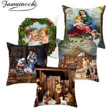 Fuwatacchi Snowman Cushion Cover Christmas Day Gift Decorative Pillows Cover for Home Sofa Polyester Throw Pillowcases 45*45cm fuwatacchi cute unicorn cushion cover gold stamping throw pillow cover new rainbow christmas decorative pillows for home chair