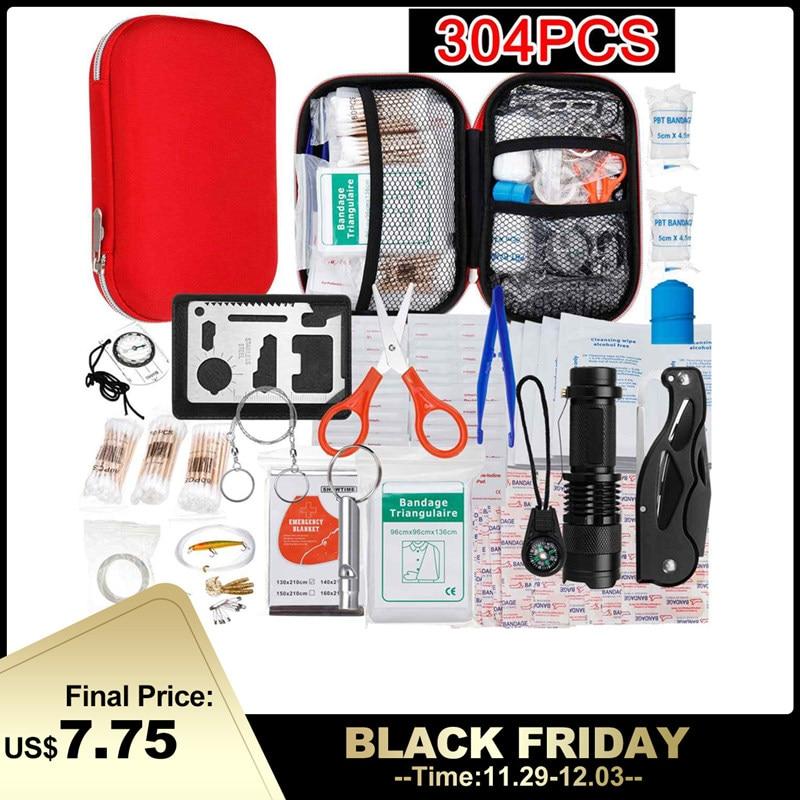 145/261/304 pièces trousse de premiers soins Camping randonnée voiture Portable en plein air médical Kit d'urgence traitement Pack survie sauvetage boîte