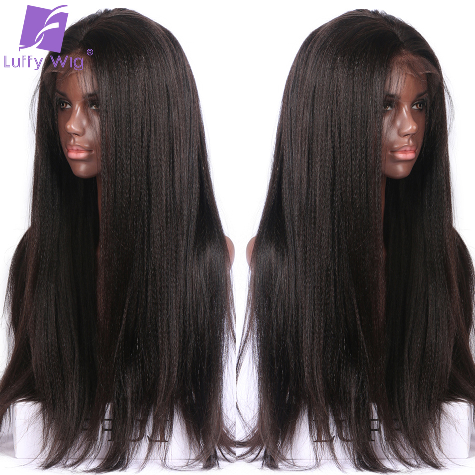 150% 180% 200% 13x6 Yaki Straight Lace Front Wigs Pre Plucked Brazilian Remy Yaki Human Hair Wigs Bleached Knots For Women Luffy