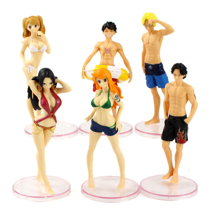 6pcs/set One Piece Figures Swimming Suit Ver. Luffy Ace Sanji Nami Boa Hancock PVC Model Toys Dolls