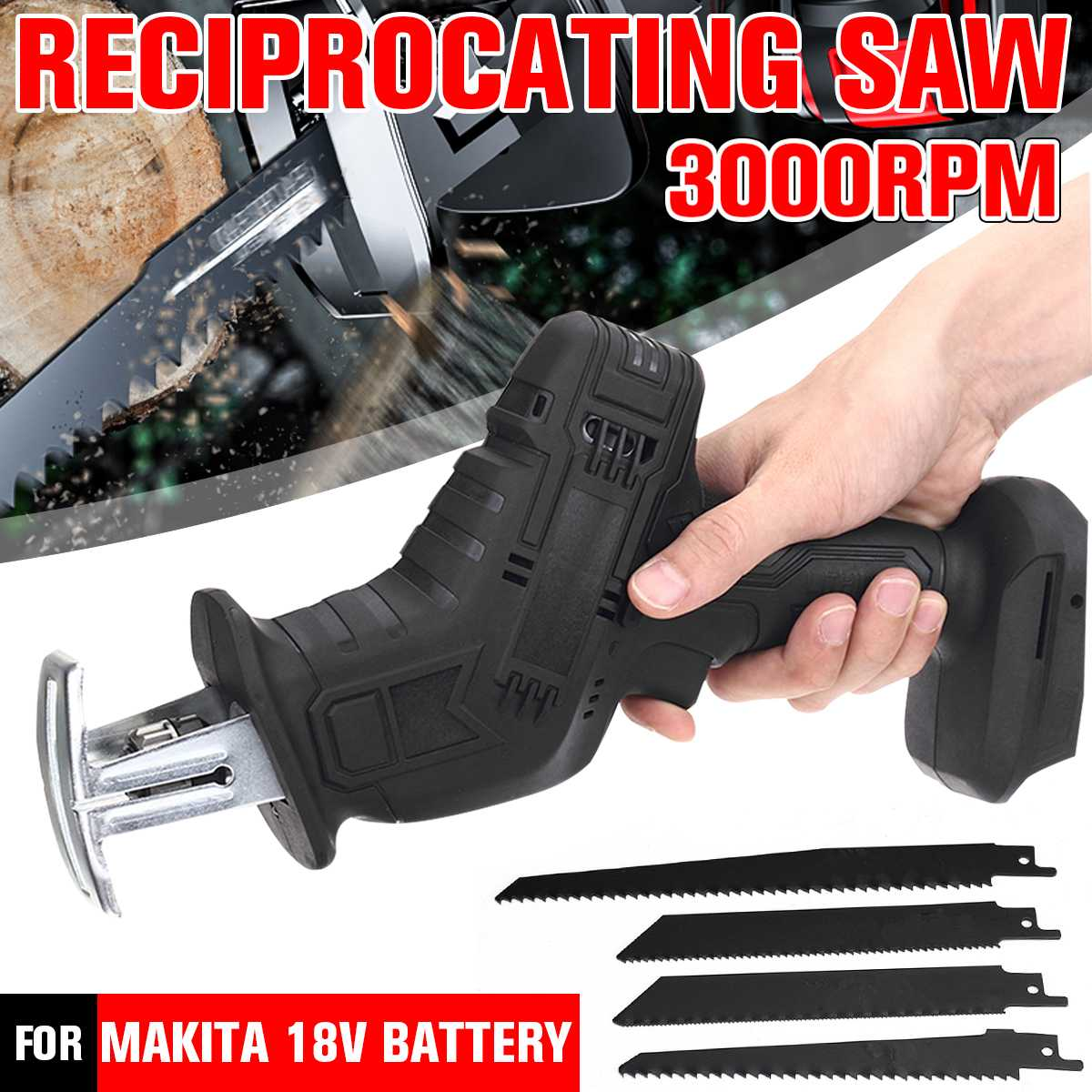 Electric Saw 18V Reciprocating Saw Variable Speed 3000rpm/min Cordless Metal Wood Cutting Machine Tool for Makita 18V Battery
