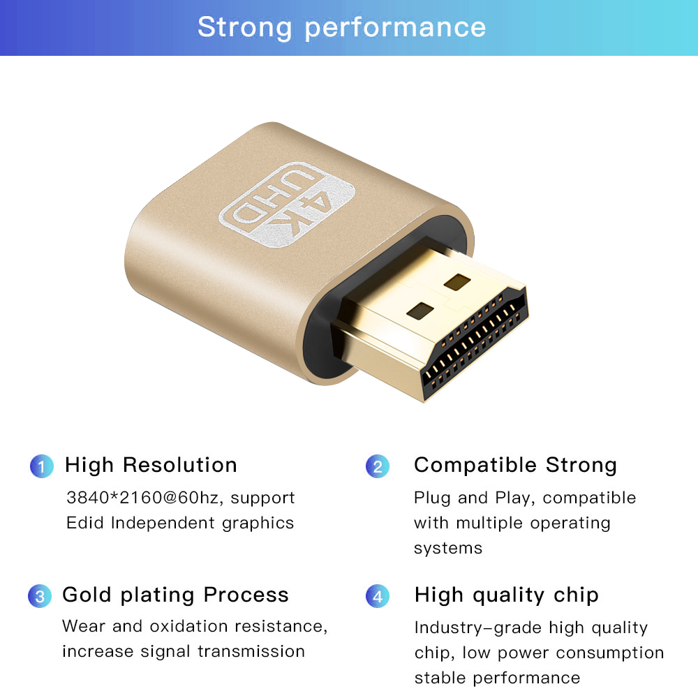 Image 5 - Kebidu 2018 HOT SALE VGA Virtual Plug HDMI Dummy Adapter Virtual Display Emulator Adapter DDC Edid Support 1920x1080P For Video-in Computer Cables & Connectors from Computer & Office