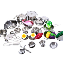 25Pcs Stainless Steel Tableware Kids Baby Kitchen Toys Cooking Cookware Suit Figures Pretend Play for Children