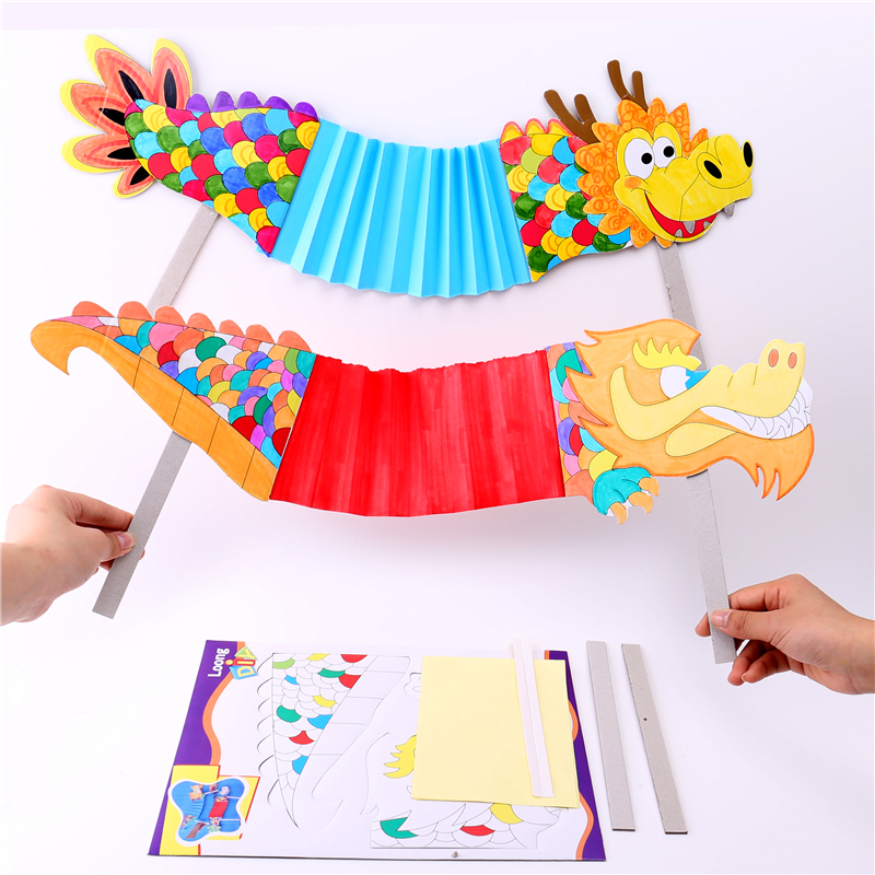 Handmade Diy Dance Dragon Kindergarten Craft Toy For Children Manual Diy Materials Creative Kid Toys Chinese New Year Decor