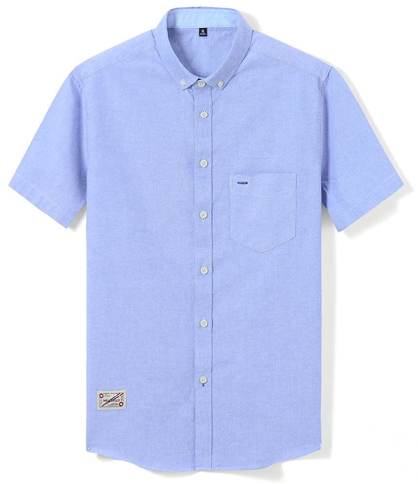 He3856f0ee75e49398ca00f35be0770afd Men's Summer Pure Cotton Oxford Shirts Casual Slim Fit Design Short Sleeve Fashion Male Blouse Shirt