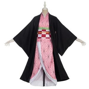 Image 1 - In stock Uwowo Anime Costume Demon Slayer Cosplay Nezuko Kimono  Costume Women Kimetsu no Yaiba Women Pink Kimono Halloween