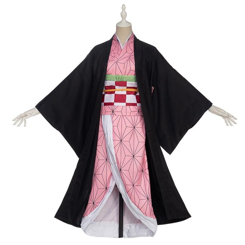 Pre-sale Uwowo Anime Costume Demon Slayer Cosplay Nezuko Kimono  Costume Women Kimetsu No Yaiba Women Pink Kimono Halloween