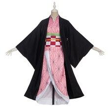 ในสต็อกUwowoเครื่องแต่งกายอะนิเมะDemon Slayerคอสเพลย์Nezukoชุดกิโมโนผู้หญิงKimetsuไม่มีYaibaผู้หญิงสีชมพูKimonoฮาโลวีน