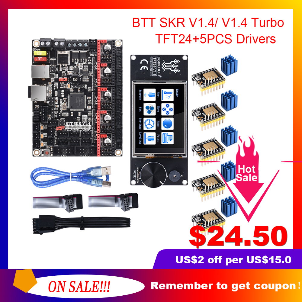 BIGTREETECH BTT SKR V1 4 SKR V1 4 Turbo Control Board TFT24 Touch Screen Upgrade SKR V1 3 TMC2209 TMC2208 Stepper Motor Driver