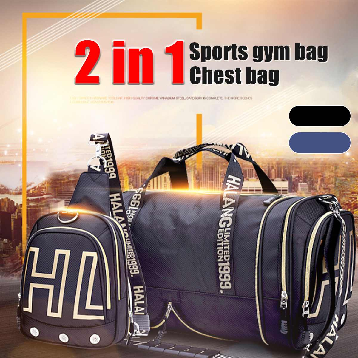 2020 2 IN 1 Sports Gym Men Women Duffle Bag Chest Bag Fitness Travel Dry Wet Gymtas Yoga Carry On Shoulder Handbag Luggage