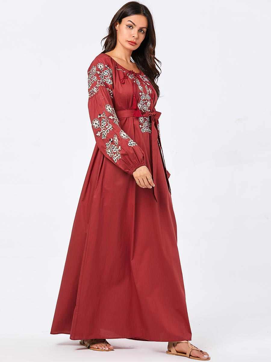 붕대 이슬람 드레스 여성 자수 두바이 abaya 터키 터키어 caftan 플러스 크기 kaftan 이슬람 의류 레드 방글라데시 가운