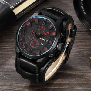 Image 5 - CURREN Top Brand Luxury Mens Watches Male Clocks Date Sport Military Clock Leather Strap Quartz Business Men Watch Gift 8225