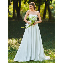Tanpell Charming Wedding Dress Strapless Bowknot Woman Party Gown Floor Length  A-Line