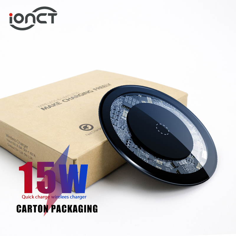 IONCT 15W Fast Qi Wireless Charger For IPhone X/XS Max 8 Visible USB Charging Pad For Samsung S8 S9 Note 9 Phone Wirless Charger