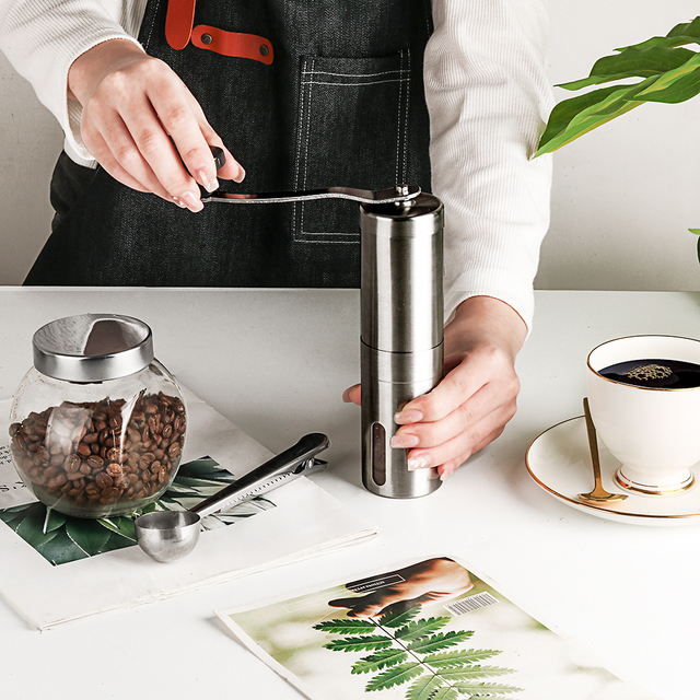 Silver Hand Held Conical Burr Coffee Grinder 6