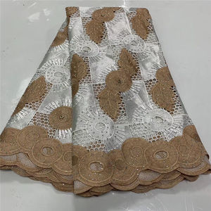 Image 5 - Fashion African Lace Fabric High Quality White gold Lace Nigerian Lace Fabric 2019 High Quality Lace With Beaded 5yards