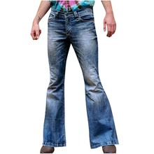 KANCOOLD Брюки-клеш в стиле хип-хоп, мужские брюки, модные свободные джинсовые прямые брюки, рваные джинсы, длинные брюки-клеш Nov5