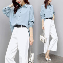 2 Piece Set Women Blue Long Sleeve Shirt and White Wide Leg Pants Office Ladies Two Piece Outfits Autumn Bell Bottom Suit 2piece(China)