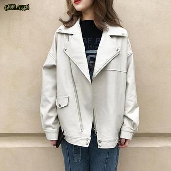 guilantu Pu Leather Jacket Women Fashion Bright Colors Beige Motorcycle Coat Short Faux Leather Biker Jacket Soft Jacket Female 1