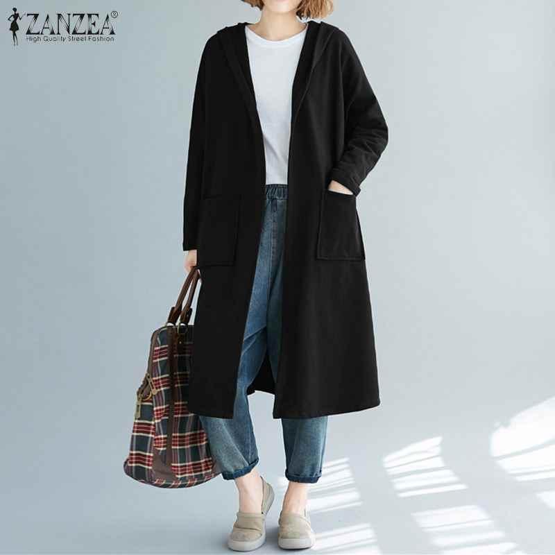 ZANZEA Women Solid Hoodies Sweatshirt Ladies Casual Open Front Long Sleeve Hooded SudaderasOutwear Hoodie Sweatshirts Plus Size
