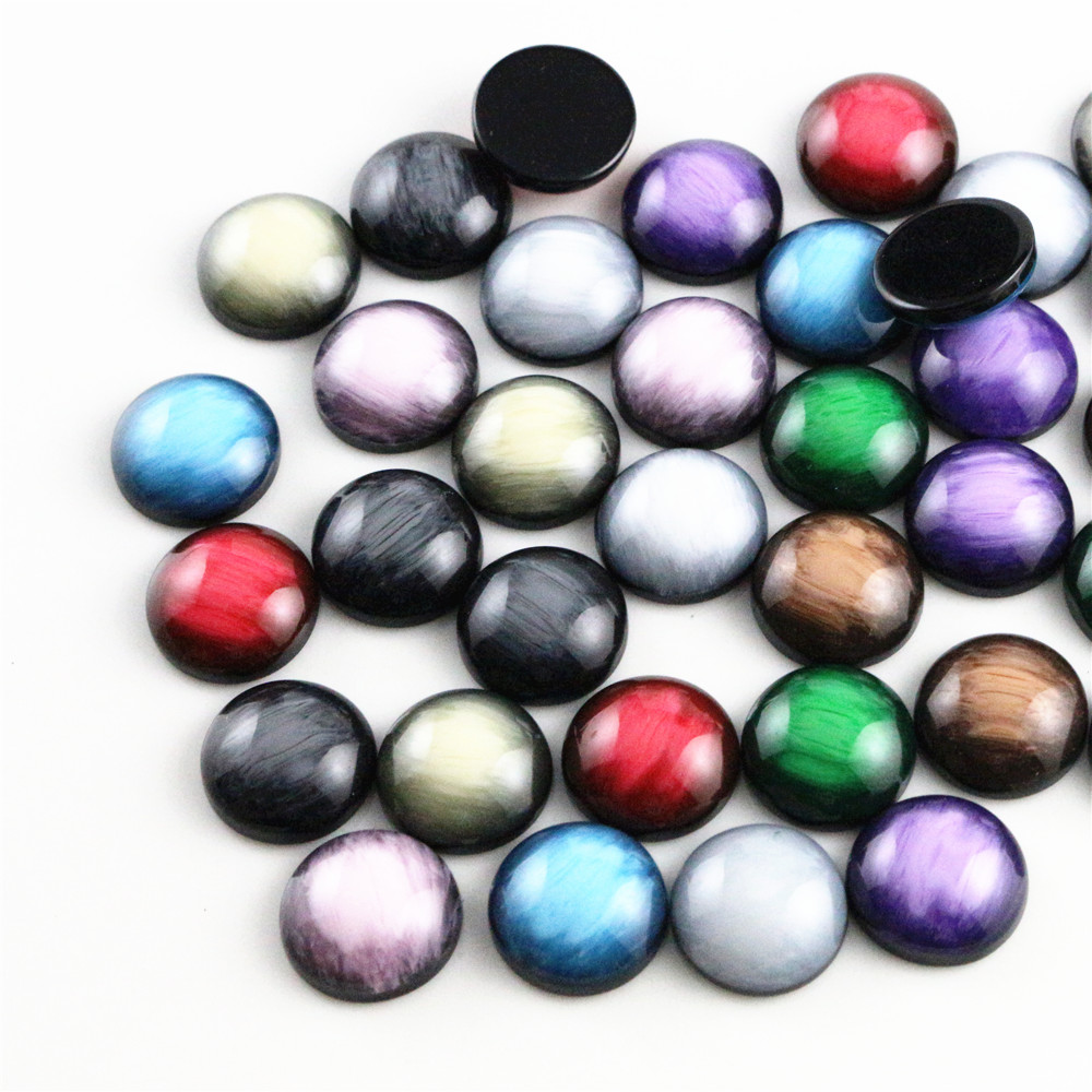 New Fashion 40pcs 12mm Mix Colors Stylish Color Brushed Style Flat Back Resin Cabochons Cameo