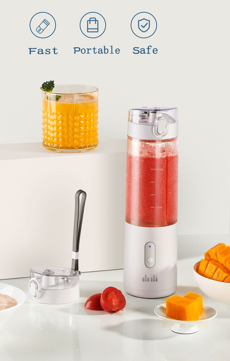 He3864462fd8141b6bdf1190f91a09f42B Portable Fruit Cup Juicer Blender Electric Kitchen Mixer Food-Processor Smoothie 350ML Magnetic charging 30 Seconds Of Quick
