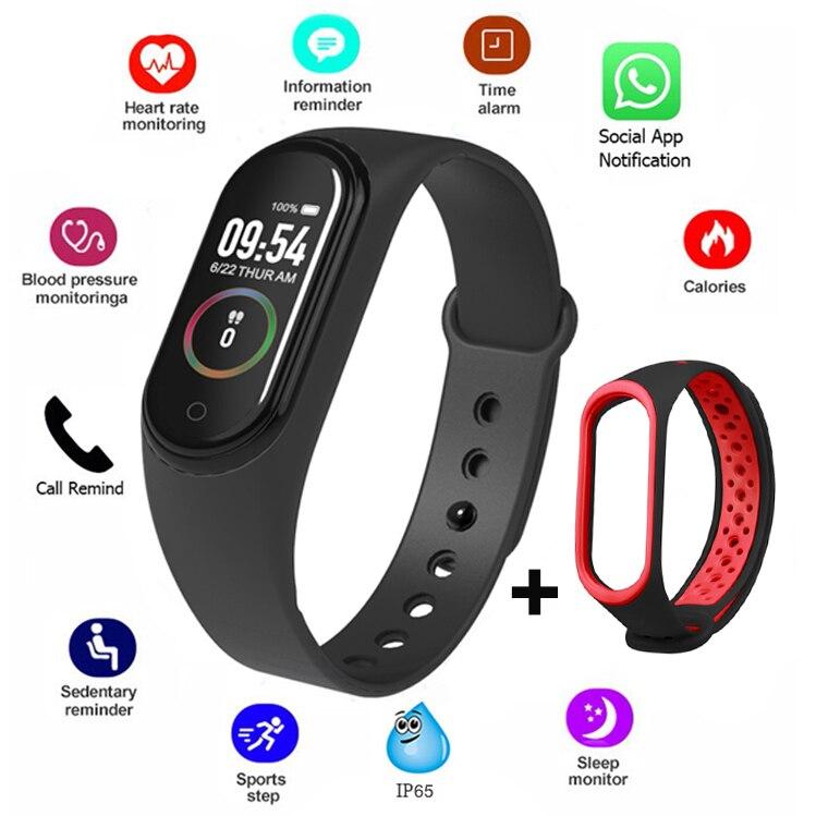 M4 Smart Bracelet Color Screen Smart Band Sport Fitness Pedometer Blood Pressure Wristband Walk Step Counter Men Women Watch