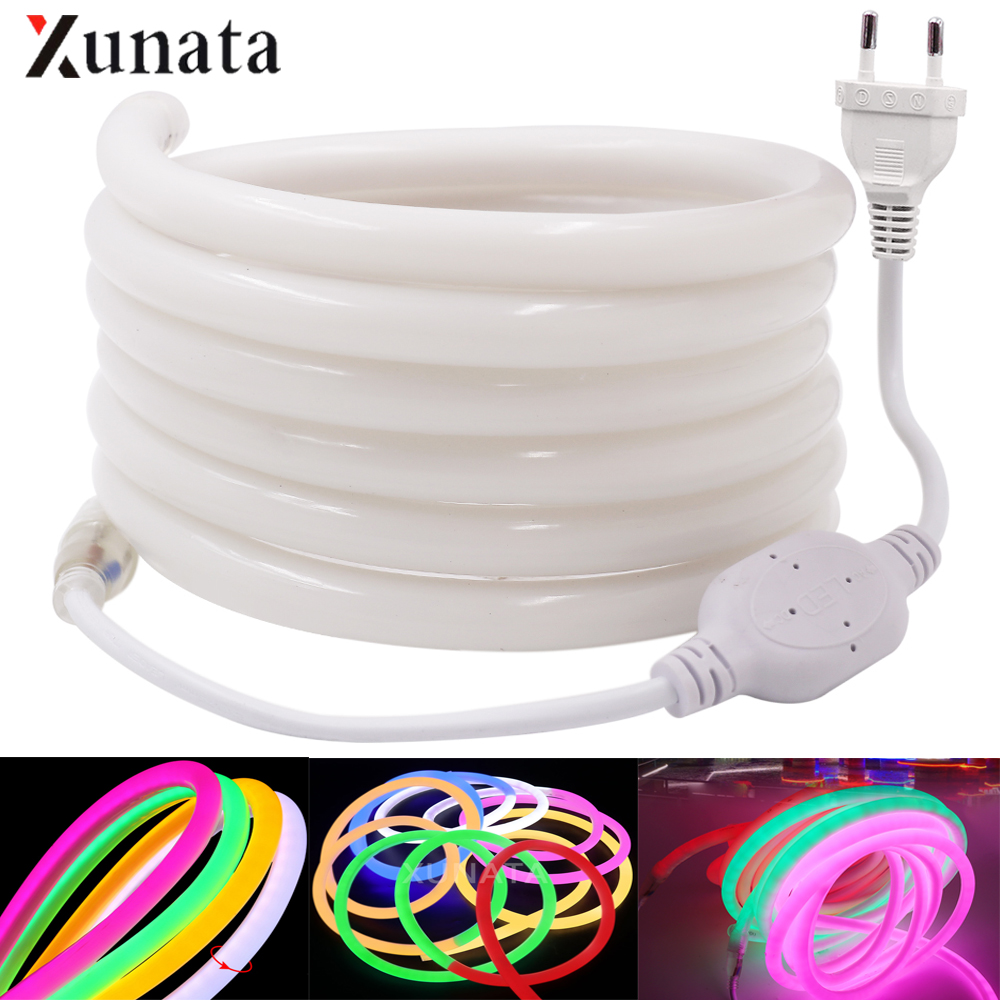 220V 230V 240V LED Strip Light Flexible Round Tube Neon LED Tape SMD2835 120LEDs/M 14MM Waterproof LED Neon Sign Rope EU Plug