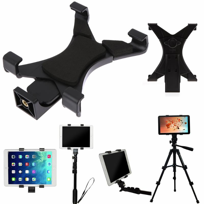 Universal Tablet Tripod Support Plastic Mount Clip Clamp Holder Bracket 1/4 Inch Thread Adapter For 7-10.1 IPad Black