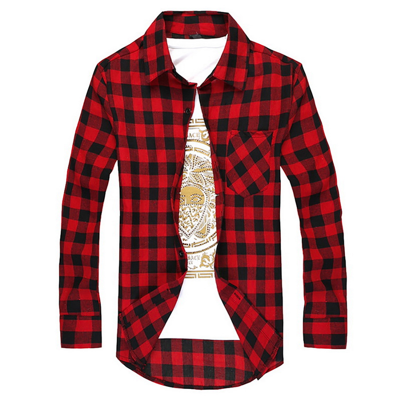 DIHOPE Plaid Men Shirts  Summer Mens Checkered  Long Sleeve Shirt Men Blouse Camisa (suggest Buy 2 Size Up)