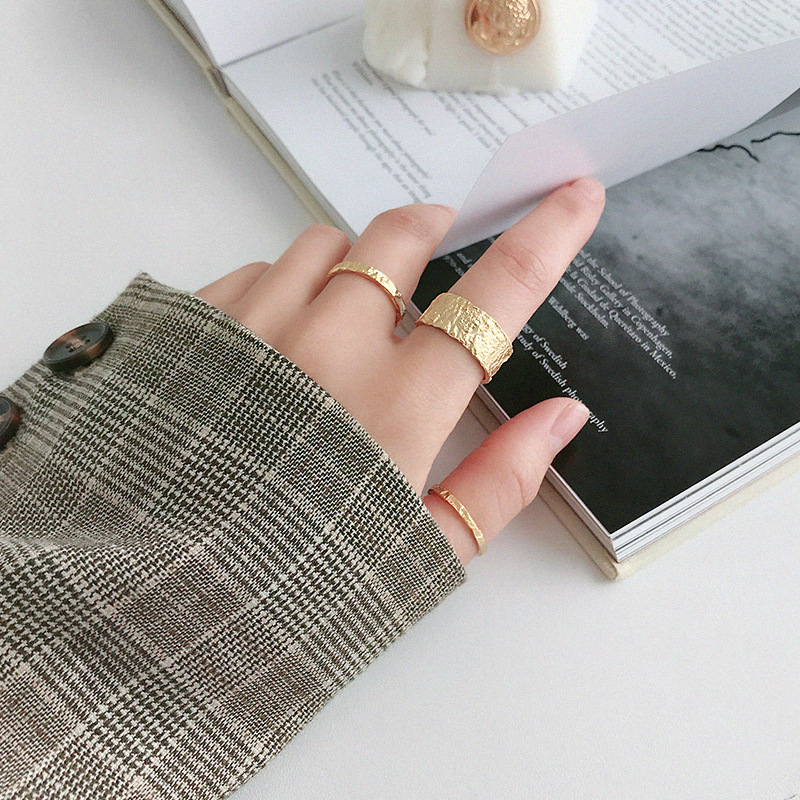 Boho Vintage Silver Color  Irregular Round Rings for Women Lover Finger Ring Valentines Day Gifts 5