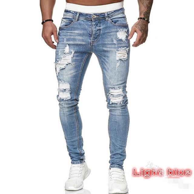 Adisputent Men's Sweatpants Sexy Hole Jeans Pants Casual Summer Autumn Male Ripped Skinny Trousers Slim Biker Outwears Pants
