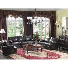 Canapé en cuir véritable, moderne, sectionnel, luxe, ensemble, GF49