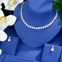 Be 8 Round Shape Wedding Bridal CZ Choker Necklace Earring Jewelry Sets Luxury Dubai White Gold Jewellery Bijoux Femme S509
