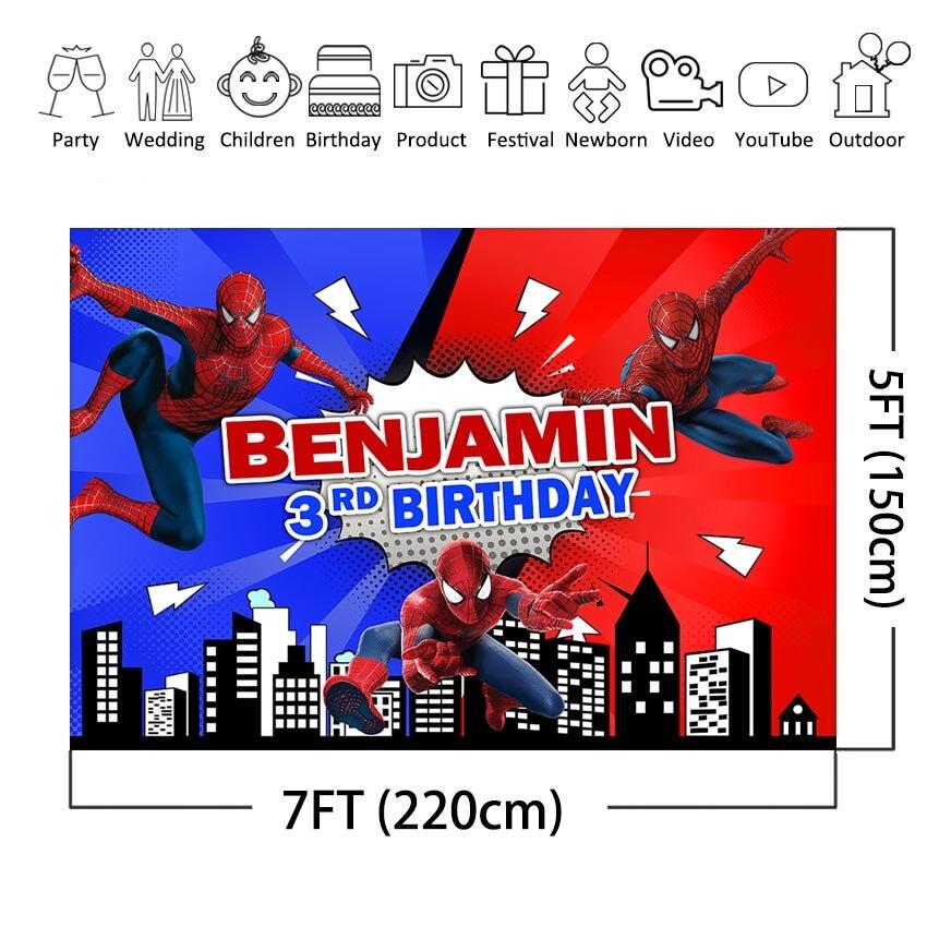 Super Héros Spiderman Birthday Party Photography Backdrop Vinyl Photo Background