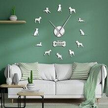 الألماني الملاكم الكلب الحديثة ساعة حائط عملاقة صامتة لتقوم بها بنفسك إبرة كبيرة الوقت على مدار الساعة فرملس دويتشر الملاكم كبيرة جدار الفن الديكور