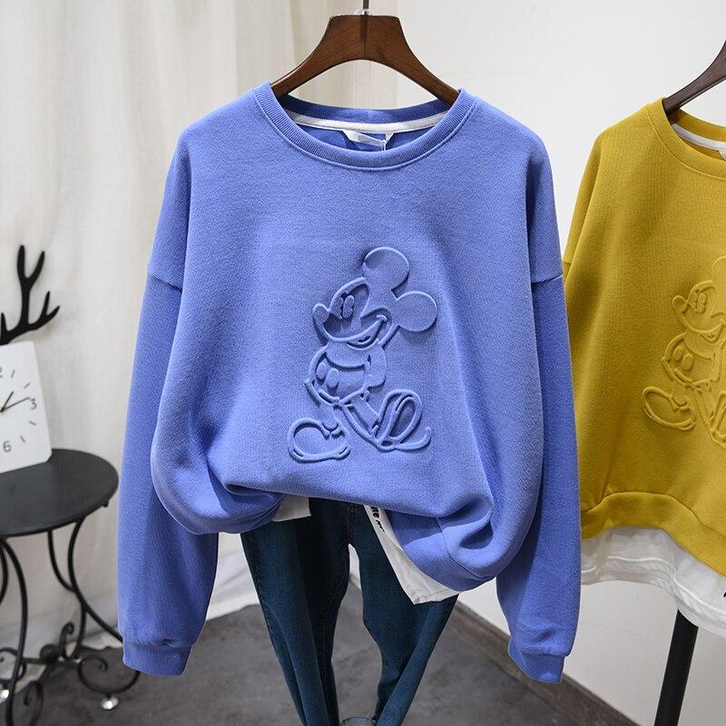 2020 Spring Cotton Sweatshirt Hoodie Women Solid Cartoon Casual Sweatshirts Coat Femme Teens Loose Casual Hoodies Top