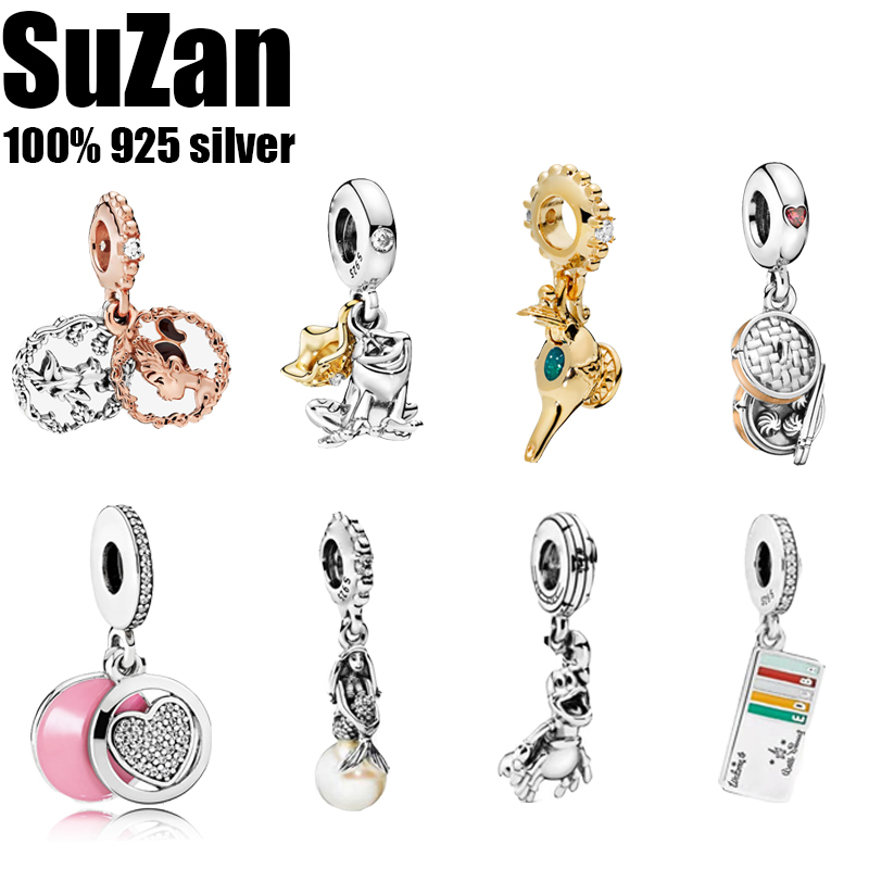 Suzan Real 925 Sterling Silver Bead <font><b>Charm</b></font> Reflexions Elegance Clip With Crystal Beads Fit <font><b>Pan</b></font> <font><b>Bracelets</b></font> Women Diy Jewelry image