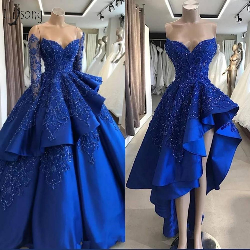 Royal Blue Lace Beaded 2 Pieces Wedding Dresses 2019 Vintage Full Sleeves Beaded Bridal Dress Detachable Skirts Robe De Mariee