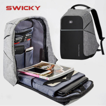 SWICKY male MP3 music USB charging fashion business casual tourist anti-theft waterproof 15.6 inch Laptop men backpack