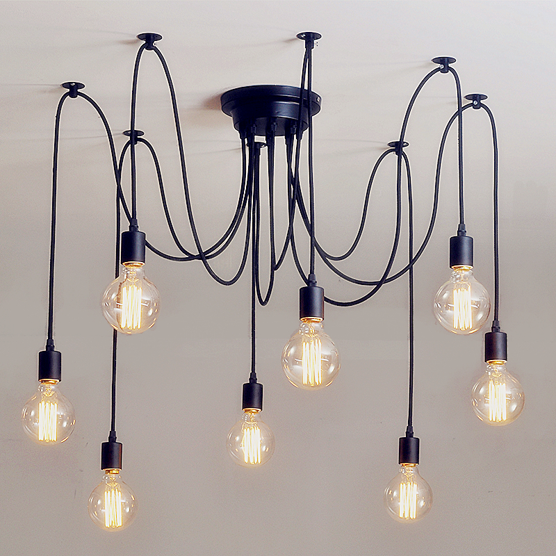 Lámpara de araña DIY arte araña lámpara de techo lámpara colgante Mordern nórdico Retro Edison bombilla Vintage desván antiguo colgante